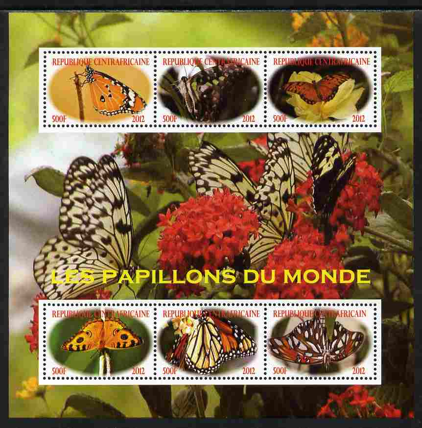 Central African Republic 2012 Butterflies of the World perf sheetlet containing 6 values unmounted mint. Note this item is privately produced and is offered purely on its thematic appeal