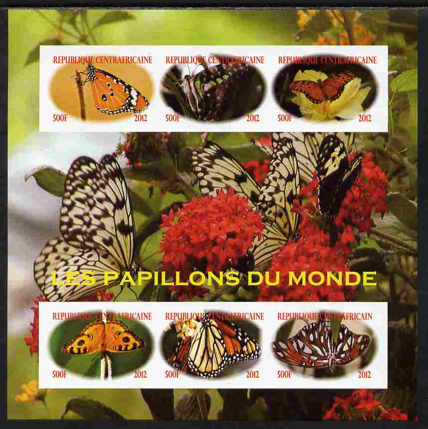Central African Republic 2012 Butterflies of the World imperf sheetlet containing 6 values unmounted mint. Note this item is privately produced and is offered purely on its thematic appeal, it has no postal validity