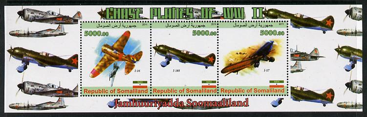 Somaliland 2011 Chase Planes of WW2 #01 perf sheetlet containing 3 values unmounted mint