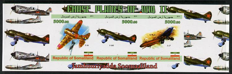 Somaliland 2011 Chase Planes of WW2 #01 imperf sheetlet containing 3 values unmounted mint