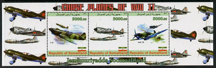 Somaliland 2011 Chase Planes of WW2 #02 perf sheetlet containing 3 values unmounted mint