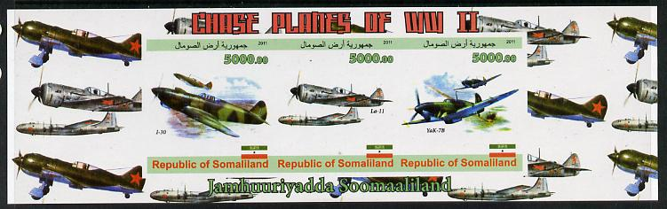 Somaliland 2011 Chase Planes of WW2 #02 imperf sheetlet containing 3 values unmounted mint
