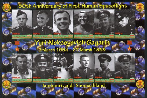 Somaliland 2011 50th Anniversary of First Human Space Flight - Yuri Gagarin perf sheetlet containing 12 values unmounted mint