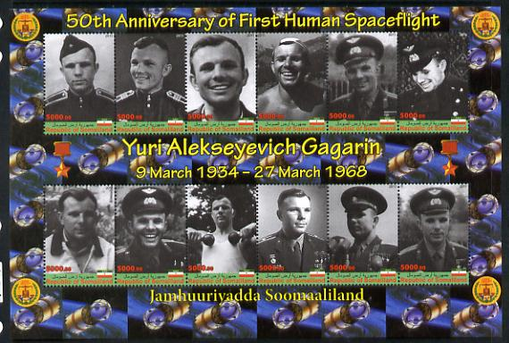 Somaliland 2011 50th Anniversary of First Human Space Flight - Yuri Gagarin imperf sheetlet containing 12 values unmounted mint