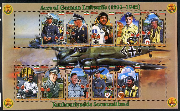 Somaliland 2011 Air Aces of the German Luftwaffe (WW2) perf sheetlet containing 10 values plus 2 labels unmounted mint
