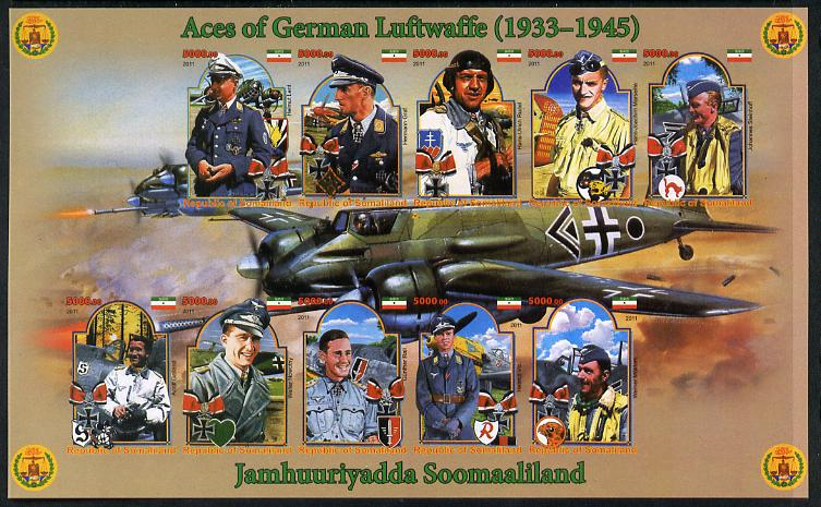 Somaliland 2011 Air Aces of the German Luftwaffe (WW2) imperf sheetlet containing 10 values plus 2 labels unmounted mint