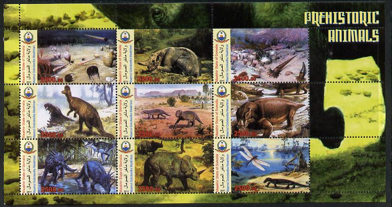 Somaliland 2011 Pre-historic Animals perf sheetlet containing 9 values unmounted mint