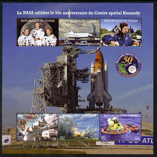 Chad 2012 50th Anniversary of NASA's Kennedy Space Centre perf sheetlet containing 6 values unmounted mint. Note this item is privately produced and is offered purely on its thematic appeal