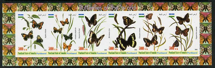 Puntland State of Somalia 2011 Butterflies of the World #2 imperf sheetlet containing 6 values unmounted mint