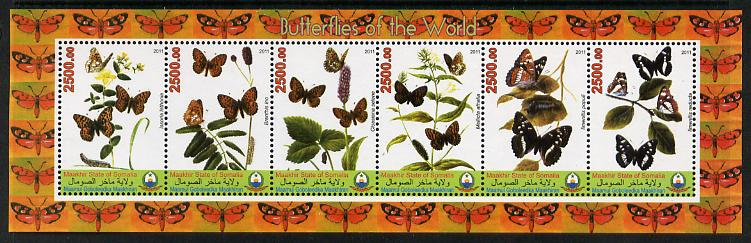 Puntland State of Somalia 2011 Butterflies of the World #3 perf sheetlet containing 6 values unmounted mint
