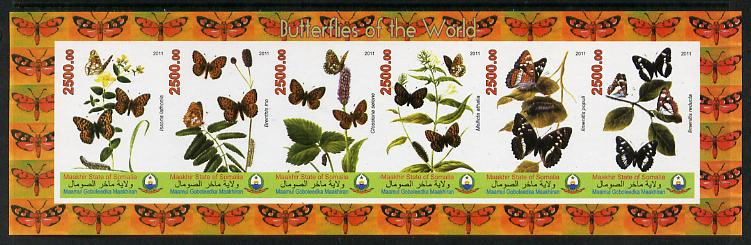 Puntland State of Somalia 2011 Butterflies of the World #3 imperf sheetlet containing 6 values unmounted mint
