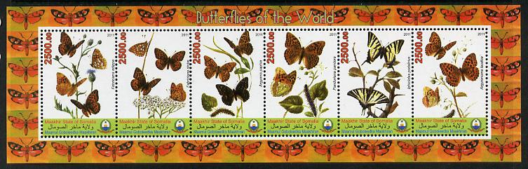 Puntland State of Somalia 2011 Butterflies of the World #4 perf sheetlet containing 6 values unmounted mint