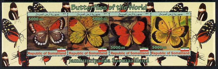 Somaliland 2011 Butterflies of the World #1 perf sheetlet containing 4 values unmounted mint