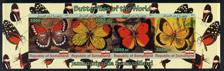 Somaliland 2011 Butterflies of the World #1 imperf sheetlet containing 4 values unmounted mint