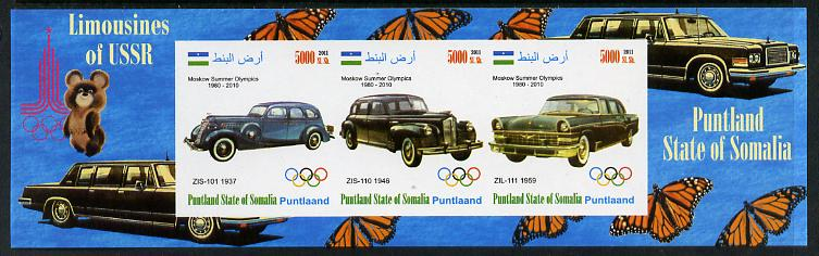 Puntland State of Somalia 2011 Limousines of the USSR #1 imperf sheetlet containing 3 values (Butterflies & Mosco Olympic Logo in margin) unmounted mint