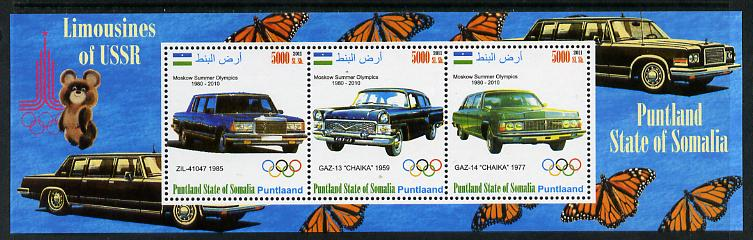 Puntland State of Somalia 2011 Limousines of the USSR #2 perf sheetlet containing 3 values (Butterflies & Mosco Olympic Logo in margin) unmounted mint