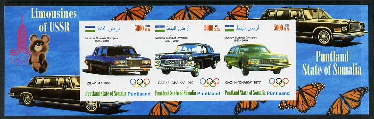 Puntland State of Somalia 2011 Limousines of the USSR #2 imperf sheetlet containing 3 values (Butterflies & Mosco Olympic Logo in margin) unmounted mint