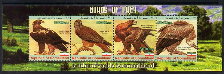 Somaliland 2011 Birds of Prey #1 perf sheetlet containing 4 values unmounted mint