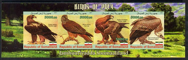 Somaliland 2011 Birds of Prey #1 imperf sheetlet containing 4 values unmounted mint
