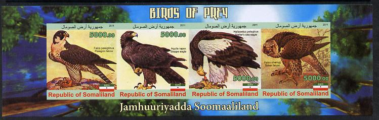 Somaliland 2011 Birds of Prey #2 imperf sheetlet containing 4 values unmounted mint