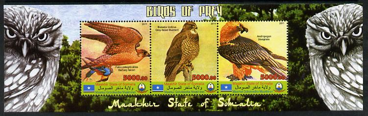 Maakhir State of Somalia 2011 Birds of Prey #1 perf sheetlet containing 3 values unmounted mint