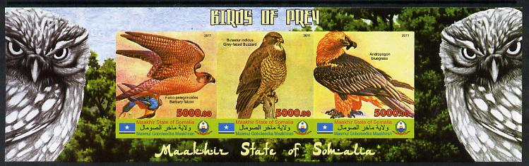 Maakhir State of Somalia 2011 Birds of Prey #1 imperf sheetlet containing 3 values unmounted mint