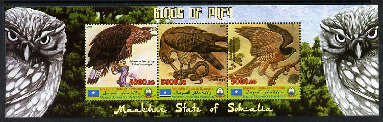 Maakhir State of Somalia 2011 Birds of Prey #2 perf sheetlet containing 3 values unmounted mint