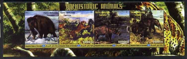 Maakhir State of Somalia 2011 Pre-historic Animals #4 perf sheetlet containing 4 values unmounted mint