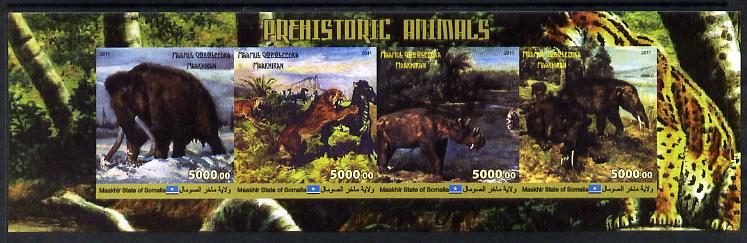 Maakhir State of Somalia 2011 Pre-historic Animals #4 imperf sheetlet containing 4 values unmounted mint, stamps on dinosaurs