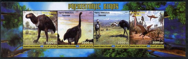 Maakhir State of Somalia 2011 Pre-historic Animals #5 perf sheetlet containing 4 values unmounted mint