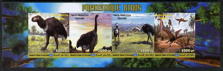 Maakhir State of Somalia 2011 Pre-historic Animals #5 imperf sheetlet containing 4 values unmounted mint