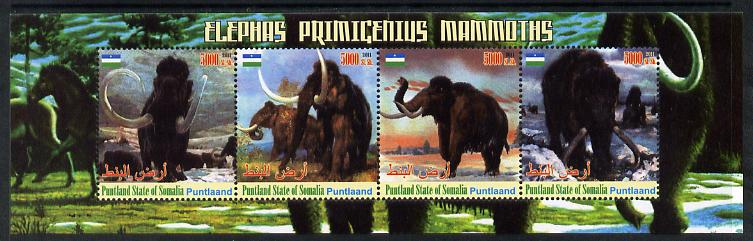 Puntland State of Somalia 2011 Pre-historic Elephants & Mammoths perf sheetlet containing 4 values unmounted mint