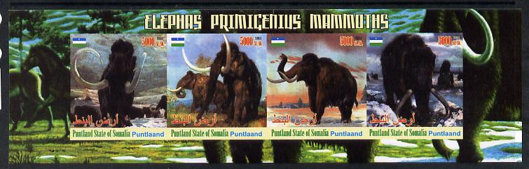 Puntland State of Somalia 2011 Pre-historic Elephants & Mammoths imperf sheetlet containing 4 values unmounted mint