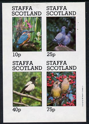 Staffa 1981 Birds #06 (Kingfisher, Pigeons, etc) imperf  set of 4 values (10p to 75p) unmounted mint