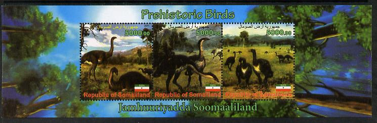 Somaliland 2011 Pre-historic Birds perf sheetlet containing 3 values unmounted mint