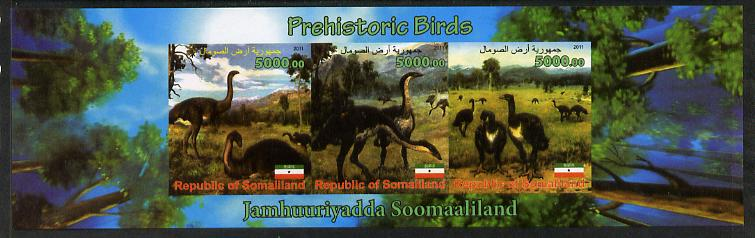 Somaliland 2011 Pre-historic Birds imperf sheetlet containing 3 values unmounted mint