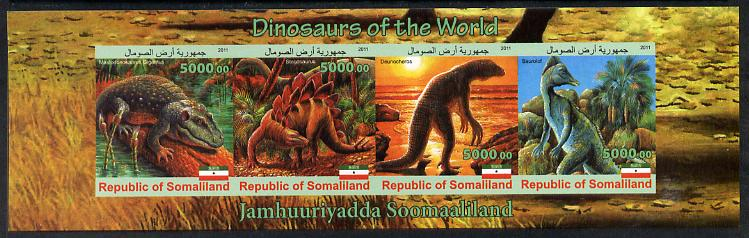Somaliland 2011 Dinosaurs of the World imperf sheetlet containing 4 values unmounted mint