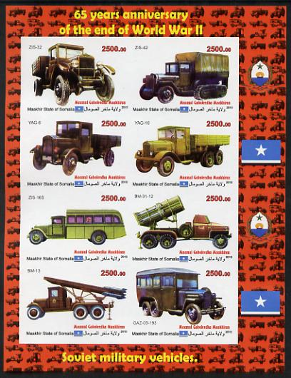 Maakhir State of Somalia 2010  65th Anniversary of the end of World War II #2 - Cars & Trucks imperf sheetlet containing 8 values unmounted mint