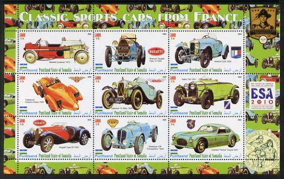 Puntland State of Somalia 2010 Classic Sports Cars of France with Scouts Logos perf sheetlet containing 9 values unmounted mint