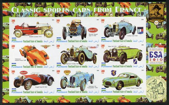 Puntland State of Somalia 2010 Classic Sports Cars of France with Scouts Logos imperf sheetlet containing 9 values unmounted mint