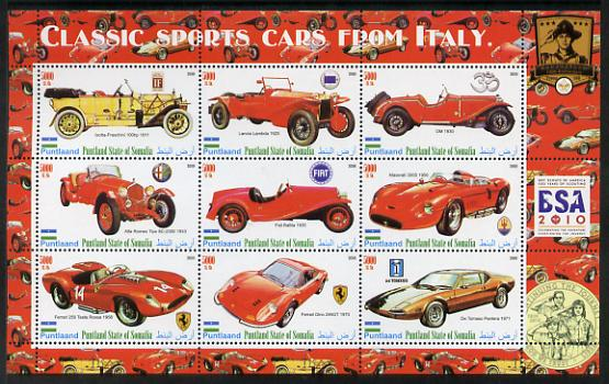 Puntland State of Somalia 2010 Classic Sports Cars of Italy with Scouts Logos perf sheetlet containing 9 values unmounted mint