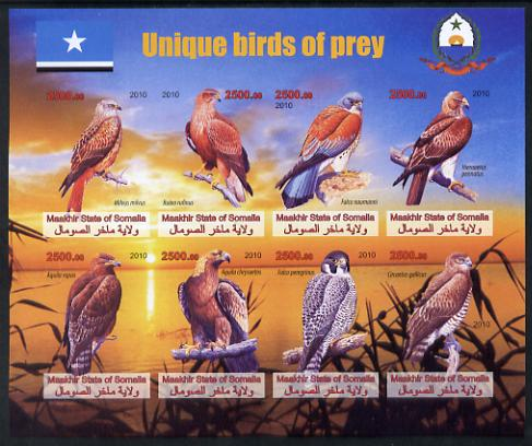 Maakhir State of Somalia 2010 Unique Birds of Prey imperf sheetlet containing 8 values unmounted mint