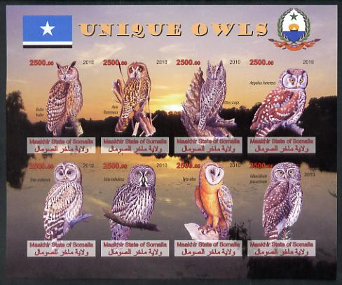 Maakhir State of Somalia 2010 Unique Owls imperf sheetlet containing 8 values unmounted mint
