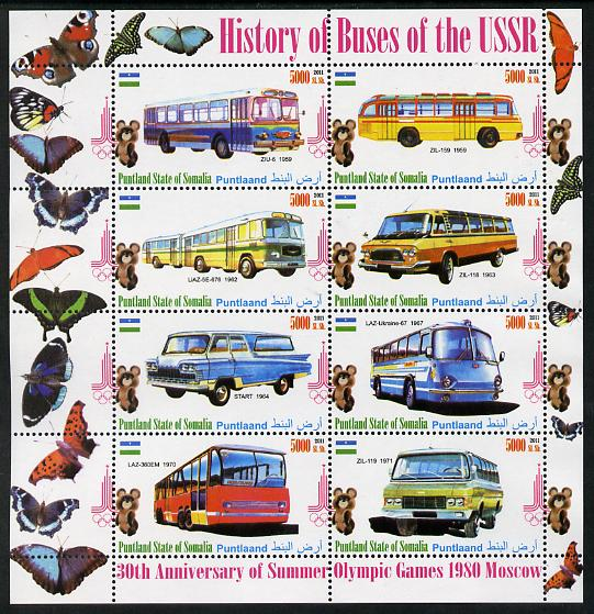 Puntland State of Somalia 2011 Buses of the USSR #1 perf sheetlet containing 8 values (Butterflies & Mosco Olympic Logo in margin) unmounted mint