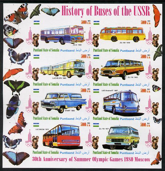 Puntland State of Somalia 2011 Buses of the USSR #1 imperf sheetlet containing 8 values (Butterflies & Mosco Olympic Logo in margin) unmounted mint
