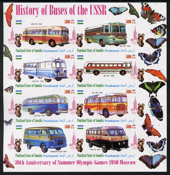 Puntland State of Somalia 2011 Buses of the USSR #2 imperf sheetlet containing 8 values (Butterflies & Mosco Olympic Logo in margin) unmounted mint