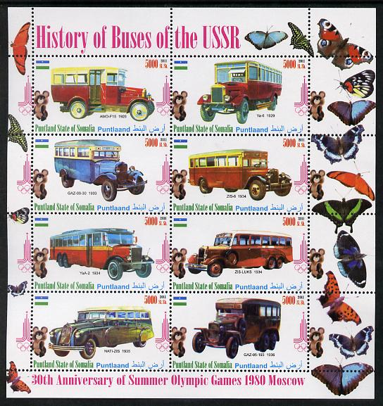 Puntland State of Somalia 2011 Buses of the USSR #3 perf sheetlet containing 8 values (Butterflies & Mosco Olympic Logo in margin) unmounted mint