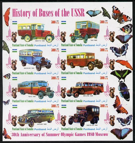 Puntland State of Somalia 2011 Buses of the USSR #3 imperf sheetlet containing 8 values (Butterflies & Mosco Olympic Logo in margin) unmounted mint