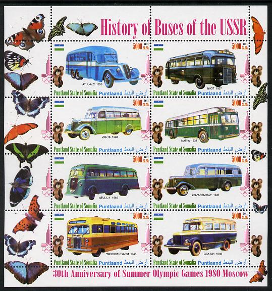 Puntland State of Somalia 2011 Buses of the USSR #4 perf sheetlet containing 8 values (Butterflies & Mosco Olympic Logo in margin) unmounted mint