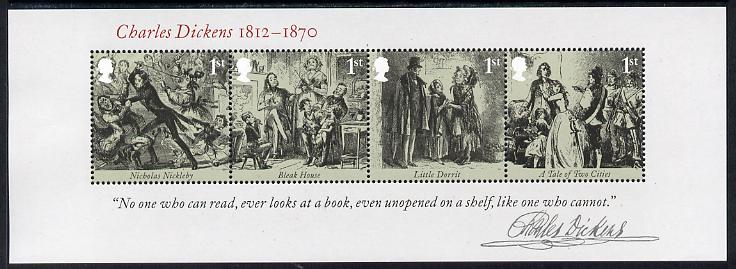 Great Britain 2012 Charles Dickens perf m/sheet containing 4 values unmounted mint